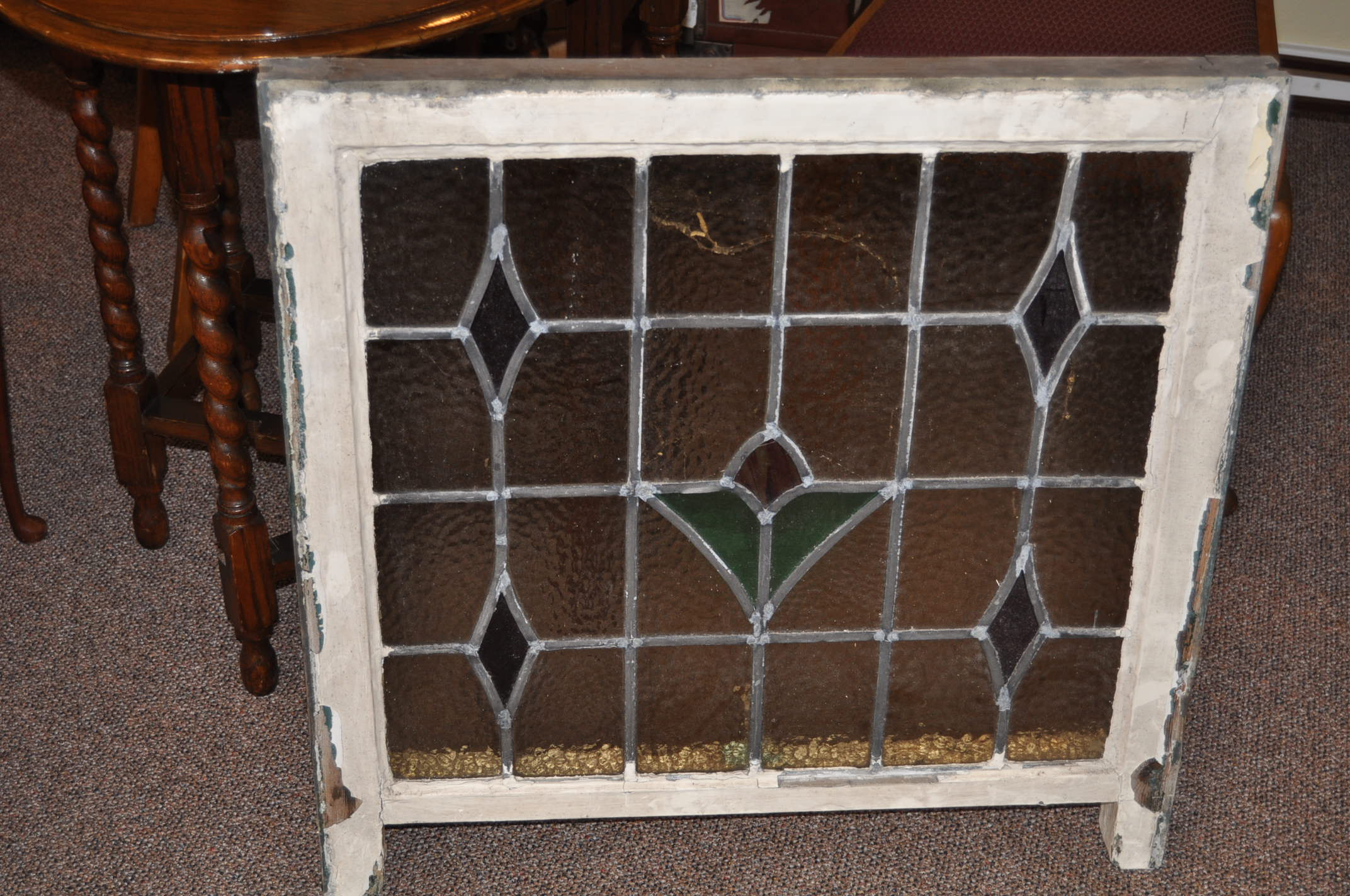 Item # Wx39 Leaded Stained Glass Window c.1910