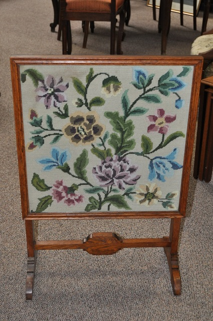 Item #B44 Oak Framed Firescreen / Folding Table c.1940's