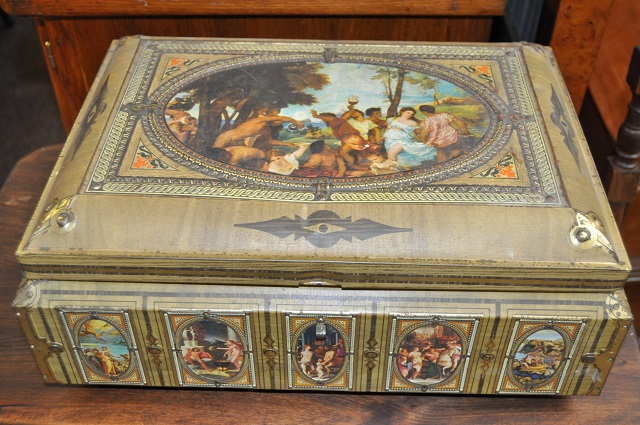 Item #F89 Decorated Tin Box – French Import c.1940's