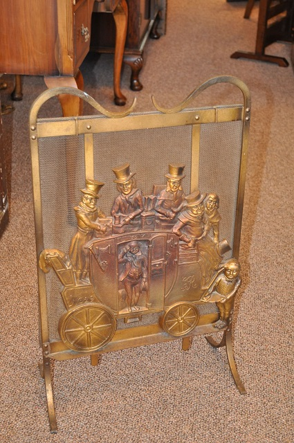Item #C122 Brass Fire Screen c.1920