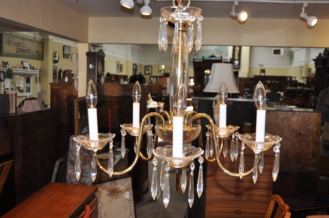 Item #F1065 Plate Brass 5 Arm Chandelier w/ Czech Crystals