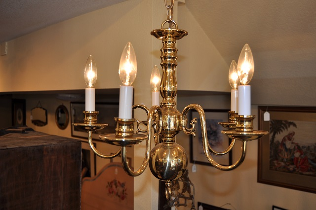 Item #F1140 Plate Brass Chandelier