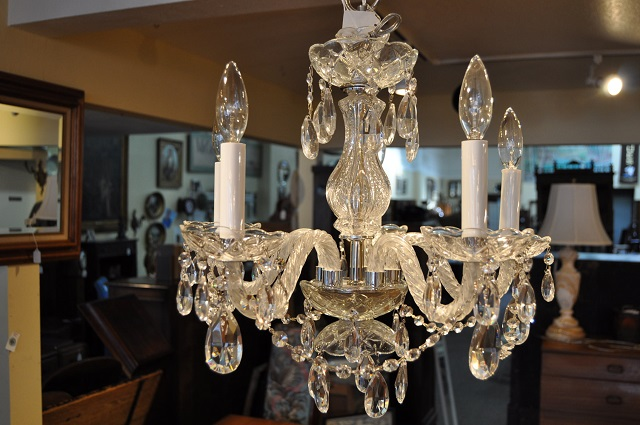 Item #F4360 Chrome & Rope Arm Chandelier w/ Swarovski Crystals