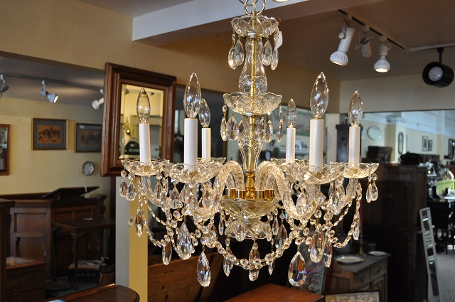 Item #F4464 Brass & Rope Arm Chandelier