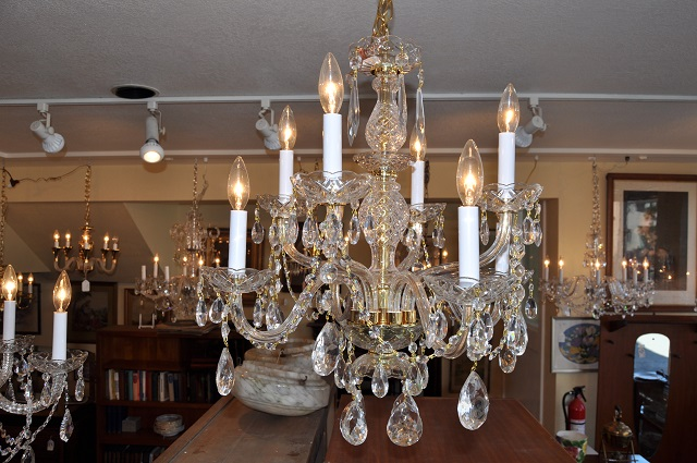 Item #F4844 Gold Fluted Swarovski & Czech Crystal Chandelier