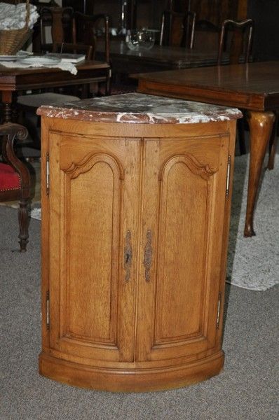 Item #F220 French Oak Marble Top Corner Cabinet c.1920's