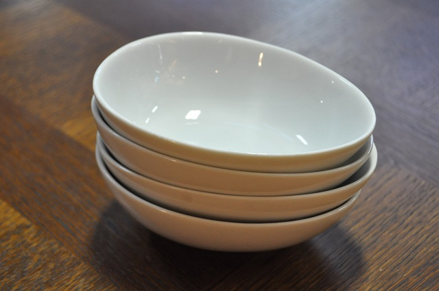 Item #D28 Set of Four White Ceramic Dessert Bowls