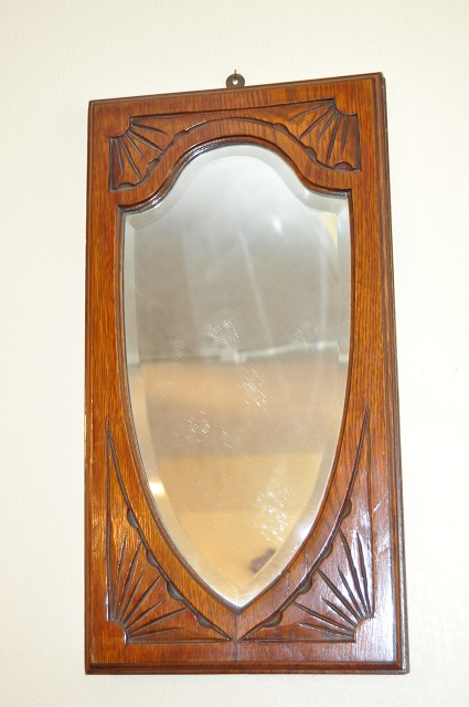 Item 3C236 Hand Carved Oak Shield Mirror c.1910
