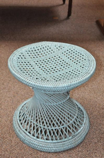 Item #E653 Vintage Wicker Stool c.1970