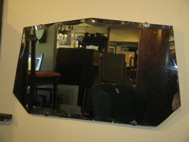 Item #B62 Vintage Bevel Edge Wall Mirror w/ Chrome  Clips c.1930's