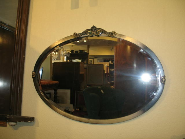 Item #F434 Vintage Metal Framed Wall Mirror c.1930's