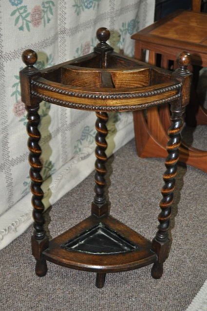Item #G907 English Oak Barley Twist Umbrella Stand c.1920's