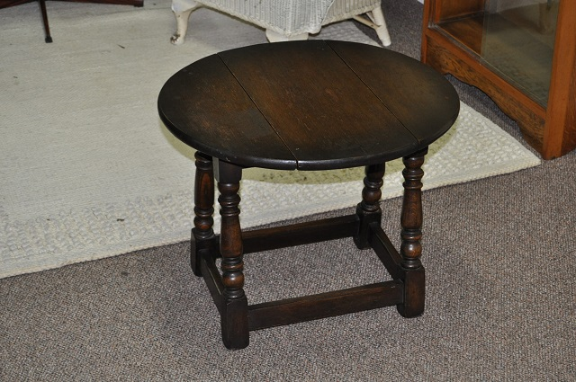 Item #H1114 Miniature Oak Drop Leaf Side Table c.1920s