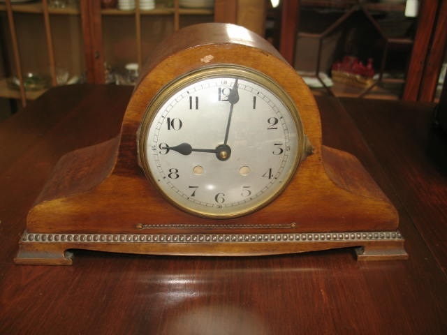 Item #D723 English Oak Mantle Clock c.1930s
