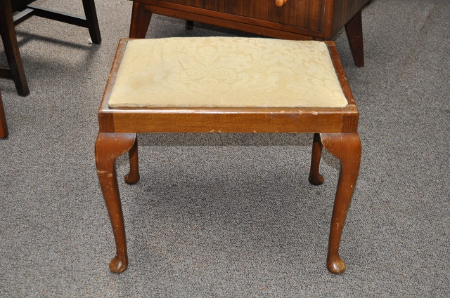 Item #i1244 Walnut Framed Vanity Seat c.1940s