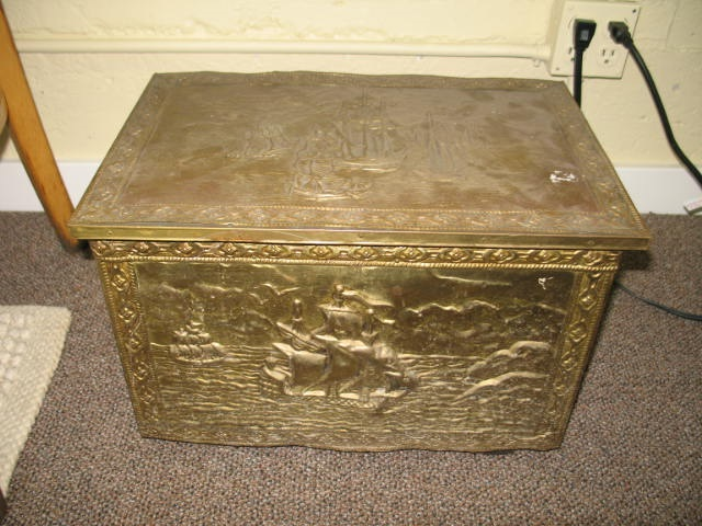 Item #G993 Embossed Brass Coal Box c.1940s