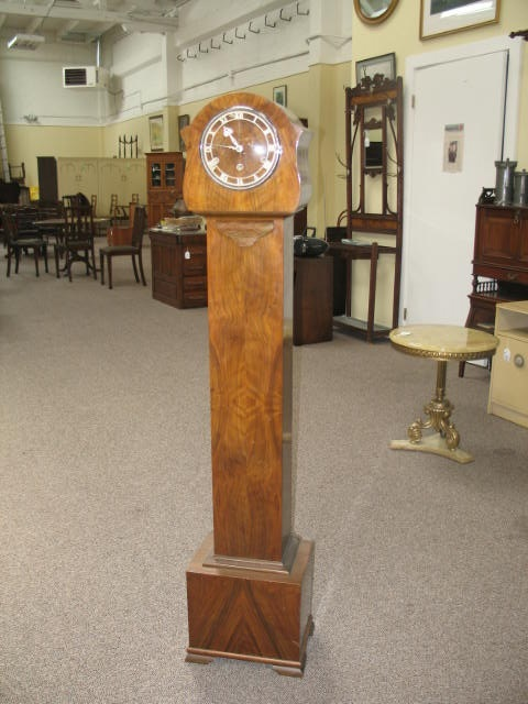 Item #S49 English Walnut Tall Case Clock c.1940