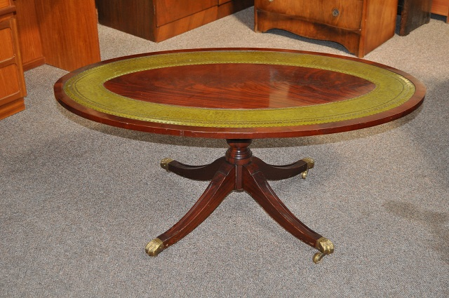 Item #H77 Flame Mahogany & Embossed Leather Coffee Table c.1950s