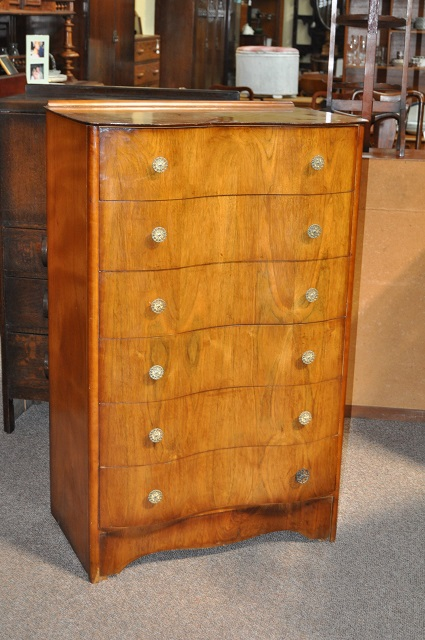 Item #H910 Walnut Serpentine Front Chest of Drawers c.1950s