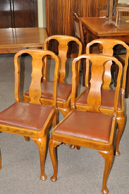 Item #i94 Set of Four Oak Dining Chairs c.1930s