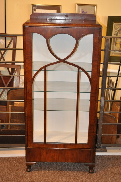 Item #j1354b Walnut Display Cabinet c.1920