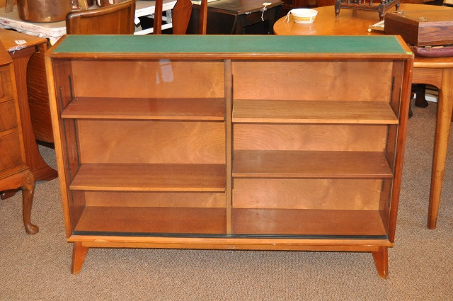 Item #J1485b Vintage Rosewood Bookcase w/ Glass Doors c.1960s