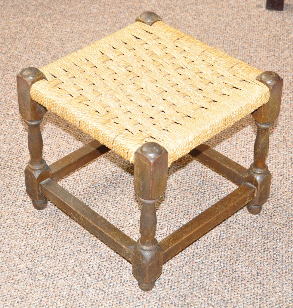 Item #G198 Oak & Cane Foot Stool c.1920