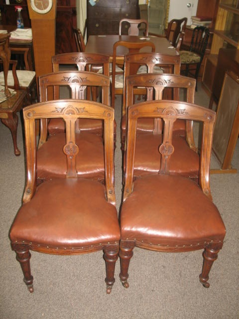 Item #J1442 Set of Six Victorian Mahogany Dining Chairs c.1900