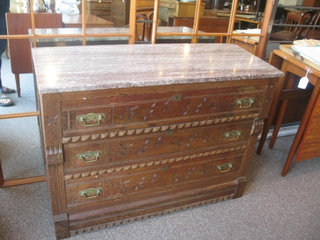 Item#PM01 Victorian Marble Top Chest of Drawers c.1890s