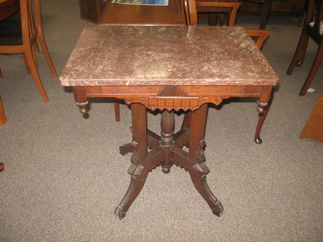 Item #PM05 Victorian Eastlake Marble Top Side Table c.1890