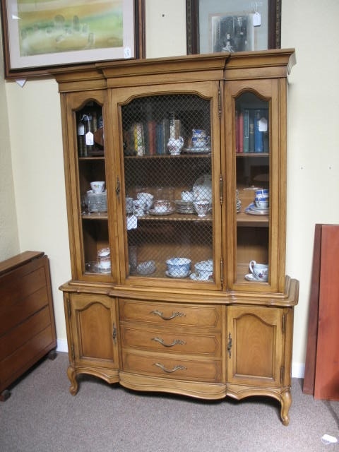 Item #CW1 French Provincial Walnut Cabinet c.1940s