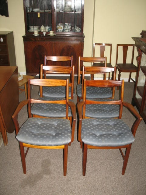 Item #J4141 Set of Six Teak & Upholstered Dining Chairs c.1970s