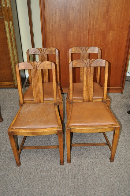 Item #K1817 Set of Four Oak Deco Dining Chairs c.1930s