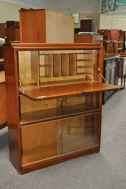 Item #K1883 Ribbon Mahogany Drop Front Desk / Cabinet c.1930s