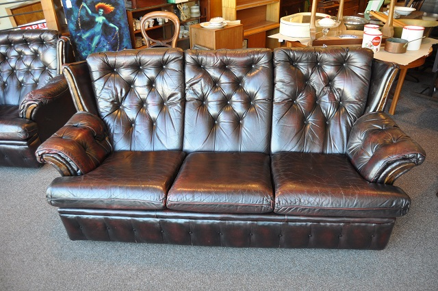 Item #K19 Vintage Leather Chesterfield Sofa c.1930s