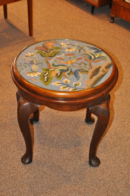 Item #H315 Antique Mahogany Needlepoint Top Side Table c.1900