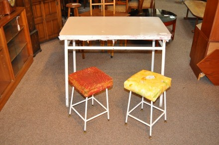Item #H418 Vintage Painted Table & Two Stools c.1950