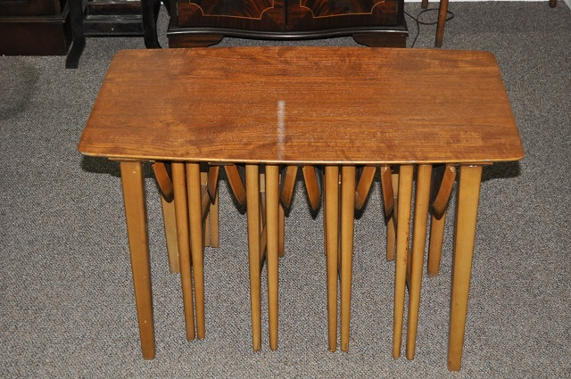 Item #J142 Vintage Side Table w/ Four Nesting Tables c.1960s