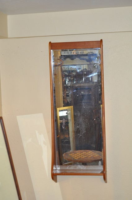 Item #K1795 Teak Framed Mirror w/ Shelf c.1970s