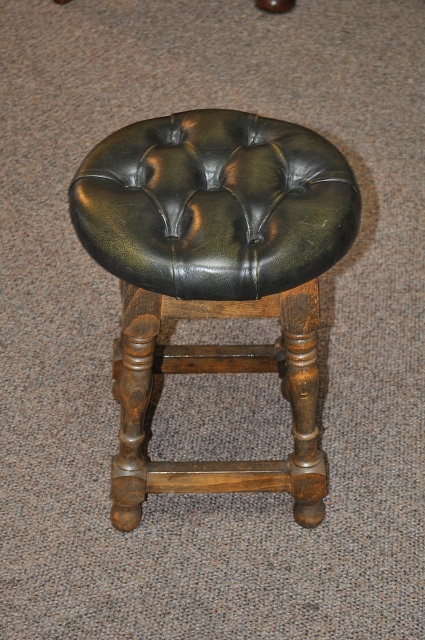 Item #K1844 Classic Oak Stool w/ Button Down Leather Seat c.1920