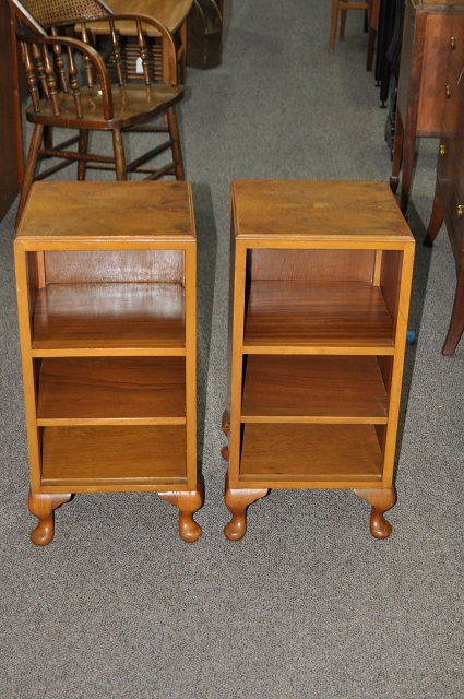 Item #K1852 Pair of Walnut Side Cabinets w/ Shelves c.1940s