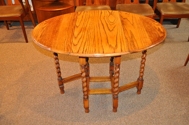 Item #K1881 English Oak Drop Leaf Table w/ Barley Twist Legs c.1920s