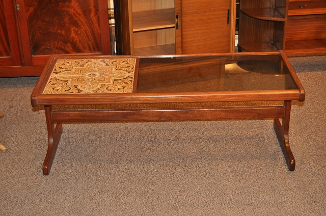 Item #K1928 Vintage Rosewood and Tile Top Coffee Table c.1960s