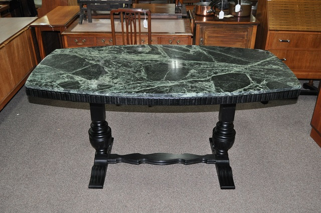 Item #K76 Marble Top Trestle Base Table c.1920s