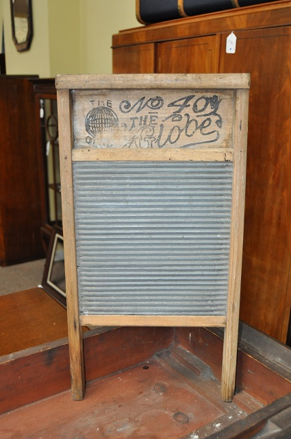 Item #H123 Wooden Framed Tin Washboard c.1930s