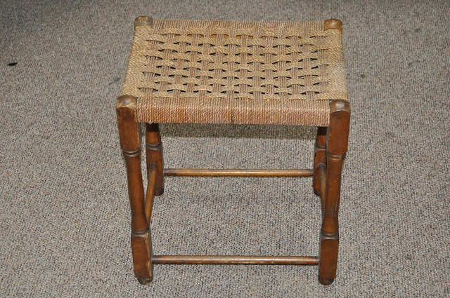 Item #I417 Oak Framed Woven Top Stool c.1920s
