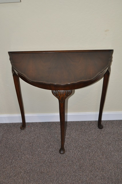 Item #K1815 Walnut Half Moon Table c.1940s