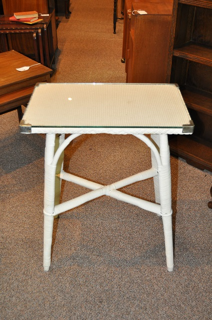 Item #K1857 Lloyd Loom Glass Top Table c.1920s