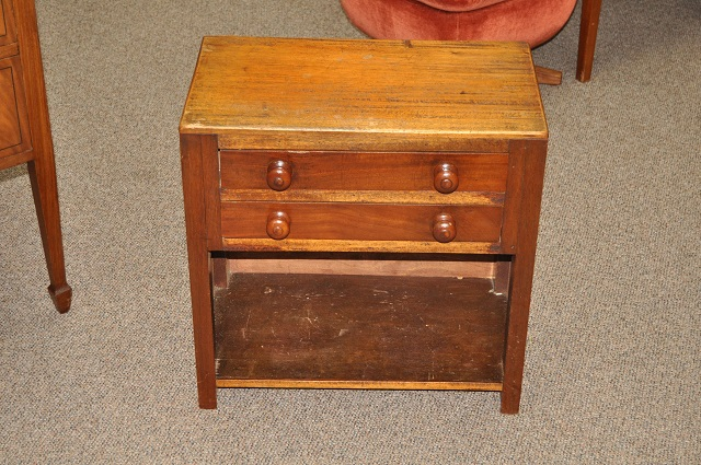 Item #K60 Small Mahogany Side Table w/ Drawers c.1910