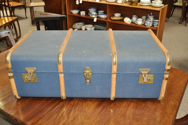 Item #K66 Vintage Wood Strapped Liner Luggage c.1930